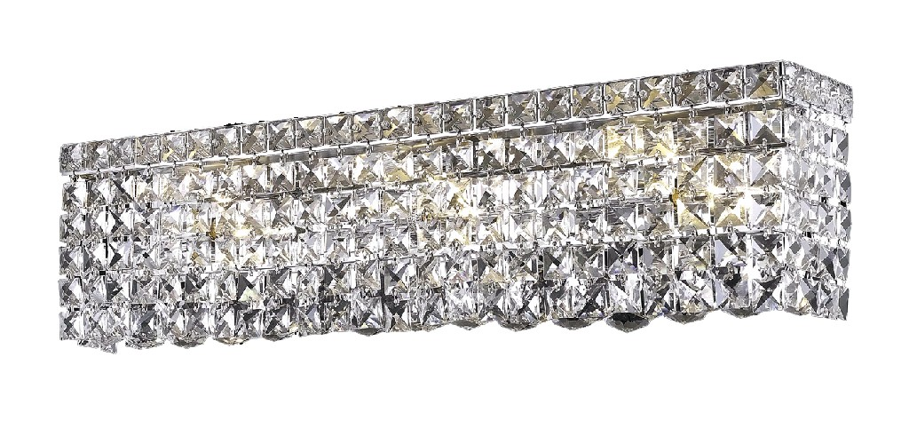 Elegant Lighting Light Chrome Wall Sconce Clear Swarovski Elements Crystal