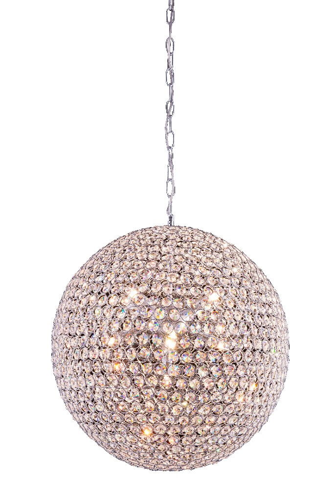 Elegant Lighting Cabaret Light Chrome Pendant Clear Royal Cut Crystal