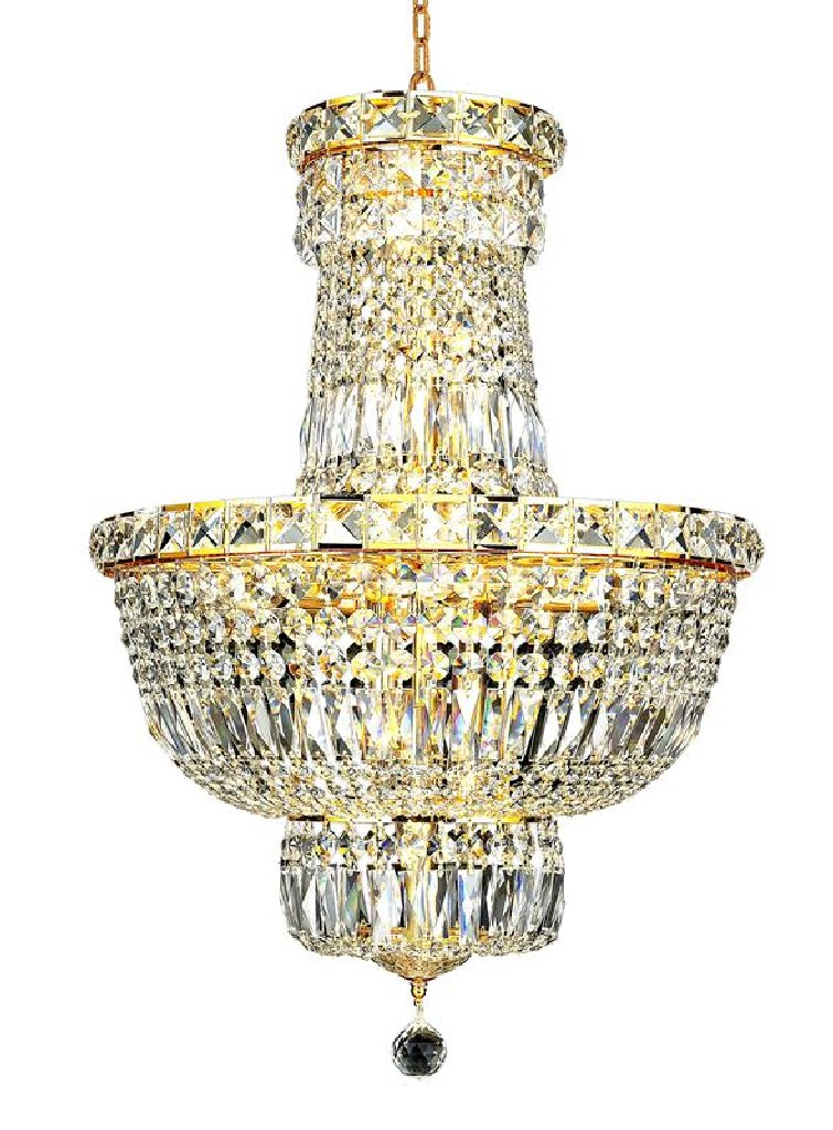 Elegant Lighting Tranquil Light Gold Pendant Clear Royal Cut Crystal