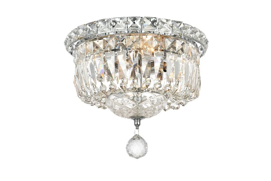 Elegant Lighting Tranquil Light Chrome Flush Mount Clear Spectra Swarovski Crystal