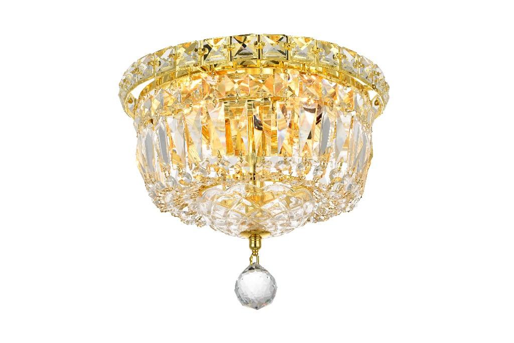 Elegant Lighting Tranquil Light Gold Flush Mount Clear Spectra Swarovski Crystal