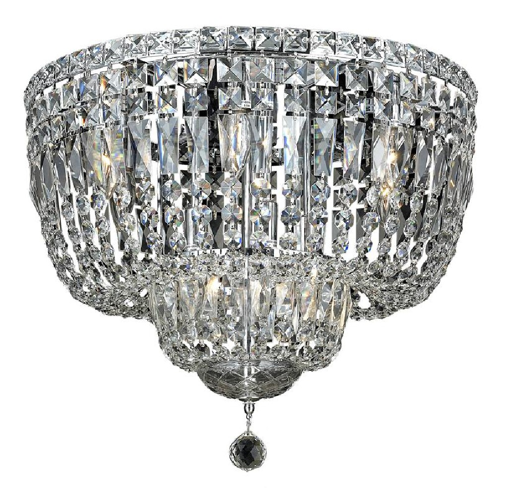 Elegant Lighting Tranquil Light Chrome Flush Mount Clear Elegant Cut Crystal