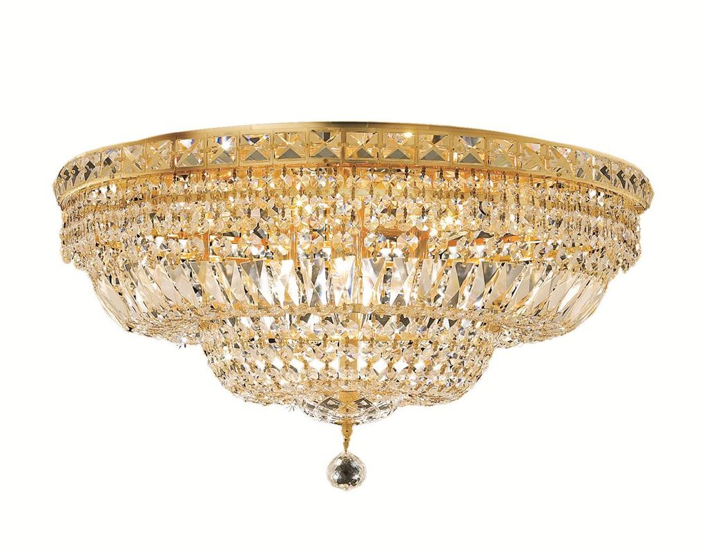 Elegant Lighting Tranquil Light Gold Flush Mount Clear Royal Cut Crystal