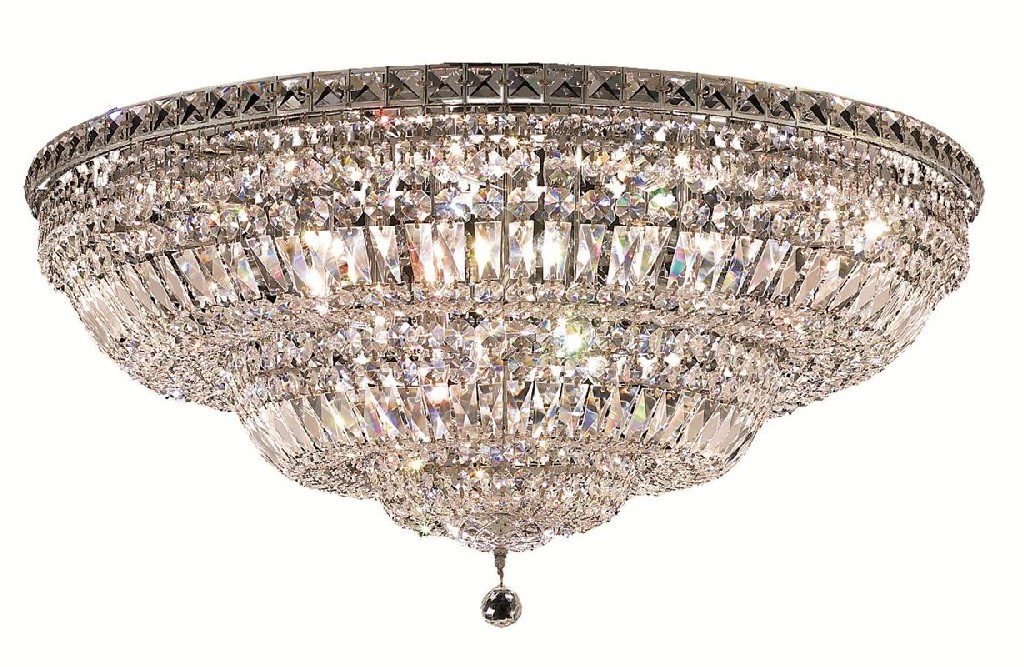 Elegant Lighting Tranquil Light Chrome Flush Mount Clear Royal Cut Crystal