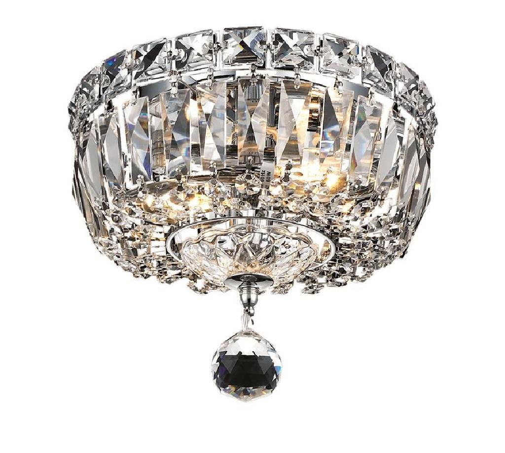 Elegant Lighting Tranquil Light Chrome Flush Mount Clear Swarovski Elements