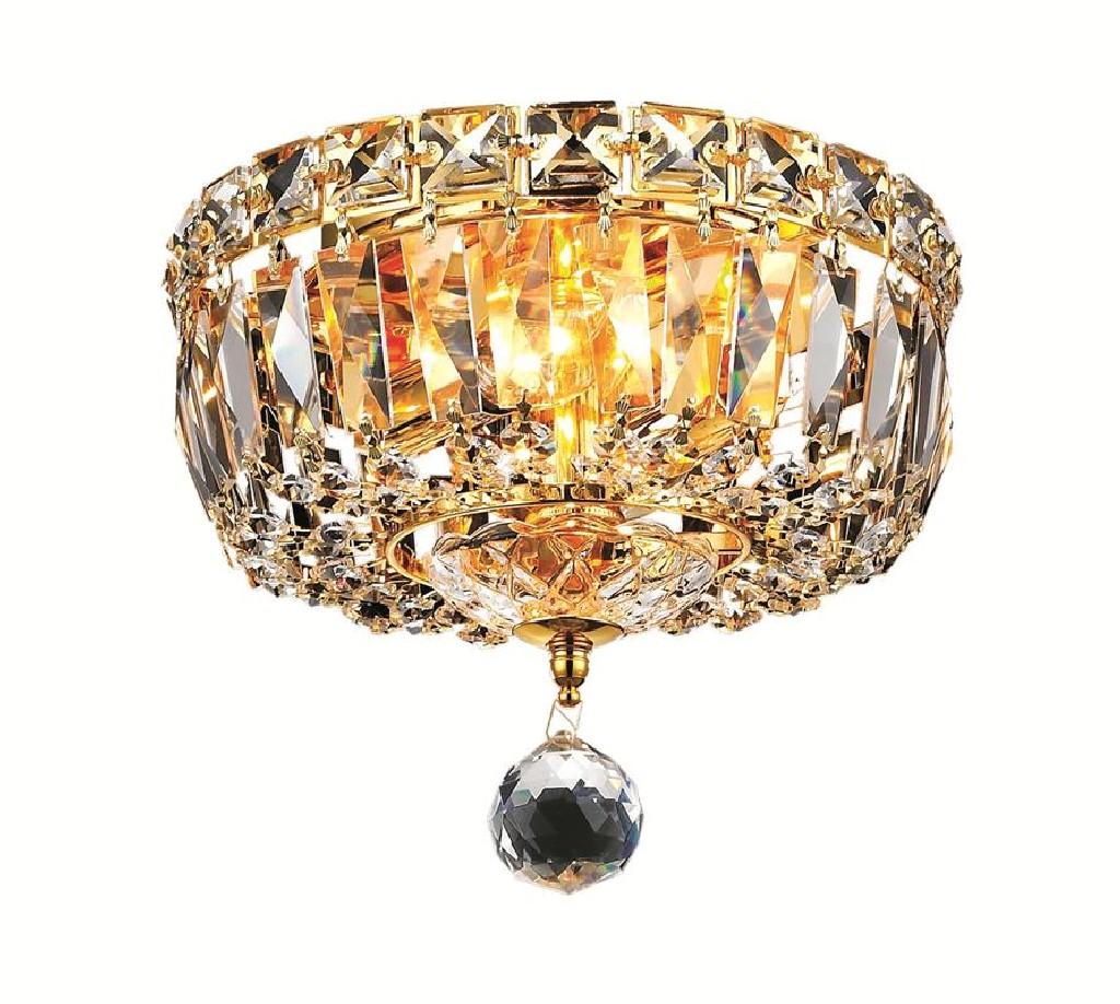 Elegant Lighting Tranquil Light Gold Flush Mount Clear Swarovski Elements Crystal