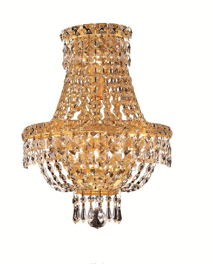 Elegant Lighting Tranquil Light Gold Wall Sconce Clear Spectra Swarovski Crystal