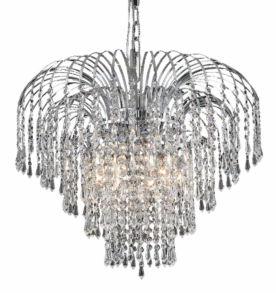 Elegant Lighting Falls Light Chrome Chandelier Clear Royal Cut Crystal