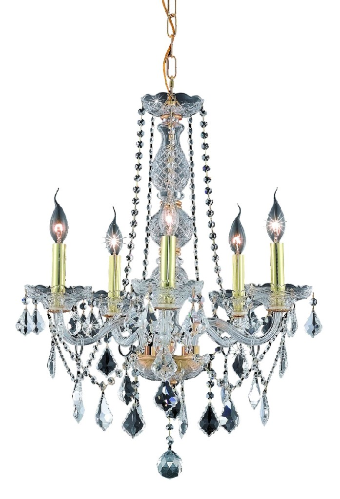 Elegant Lighting Light Gold Chandelier Clear Swarovski Elements Crystal
