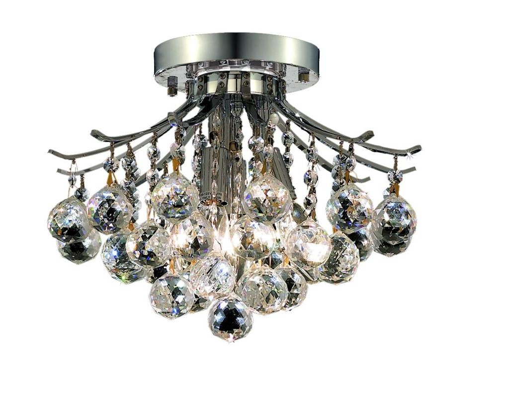 Elegant Lighting Light Chrome Flush Mount Clear Spectra Swarovski Crystal