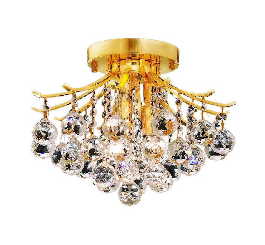 Elegant Lighting Light Gold Flush Mount Clear Spectra Swarovski Crystal