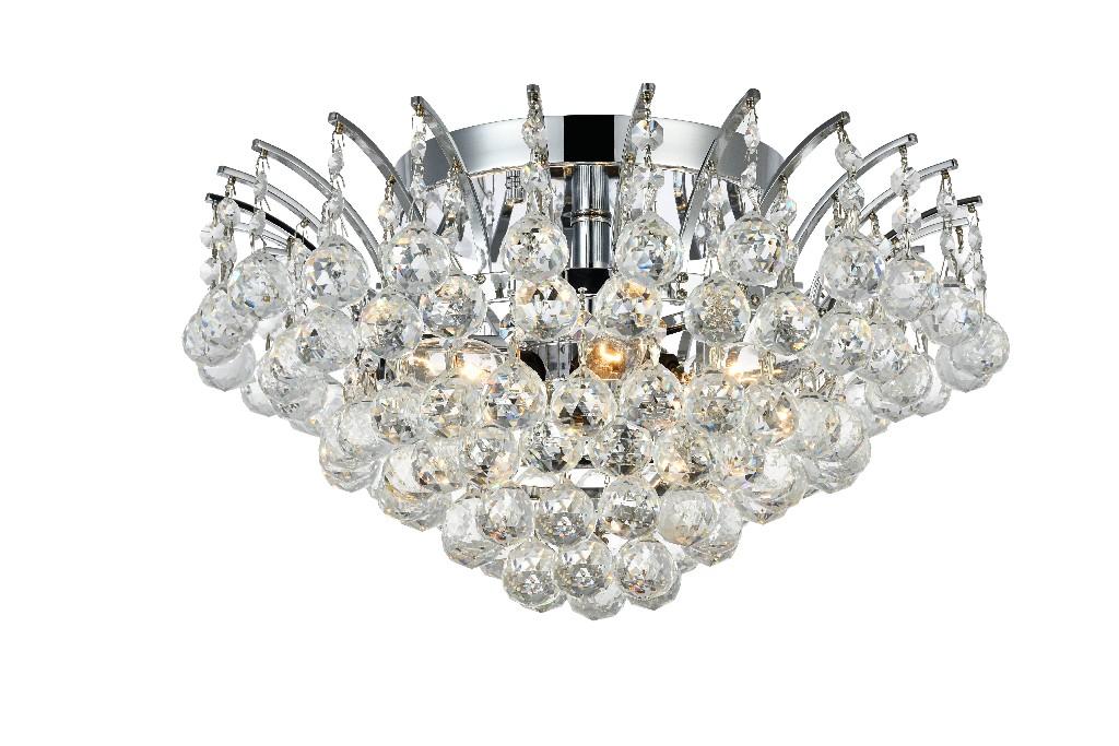 Elegant Lighting Light Chrome Flush Mount Clear Swarovski Elements Crystal