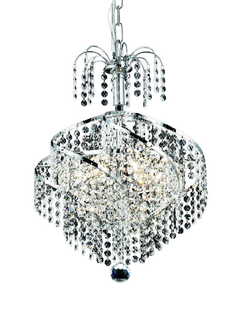 Elegant Lighting Spiral Light Chrome Pendant Clear Swarovski Elements Crystal