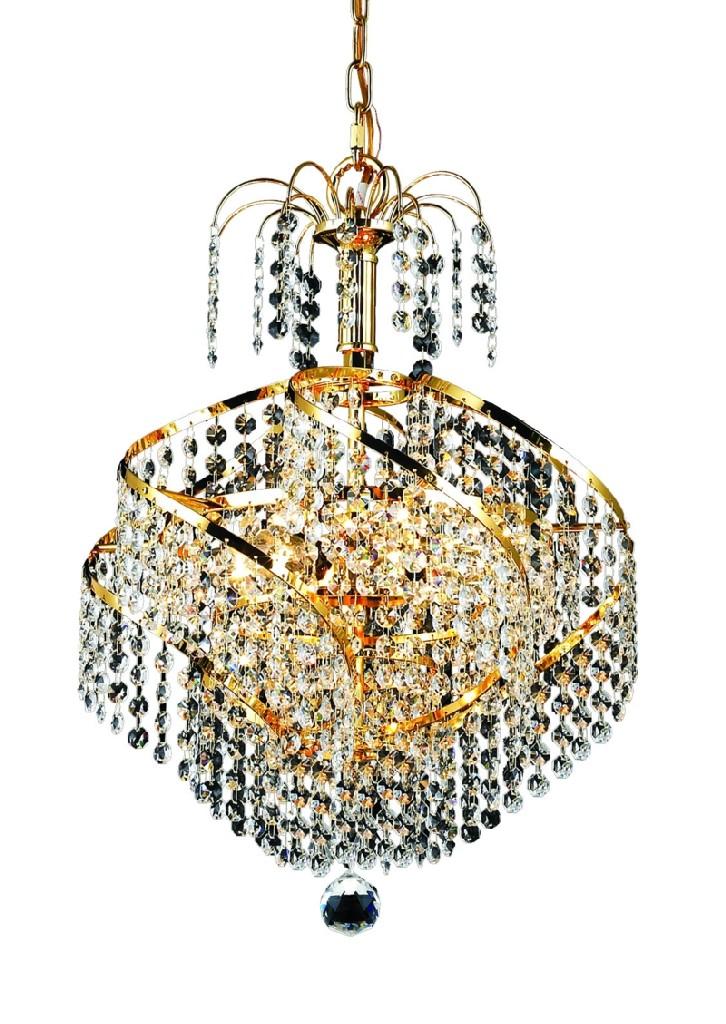 Elegant Lighting Spiral Light Gold Pendant Clear Swarovski Elements Crystal