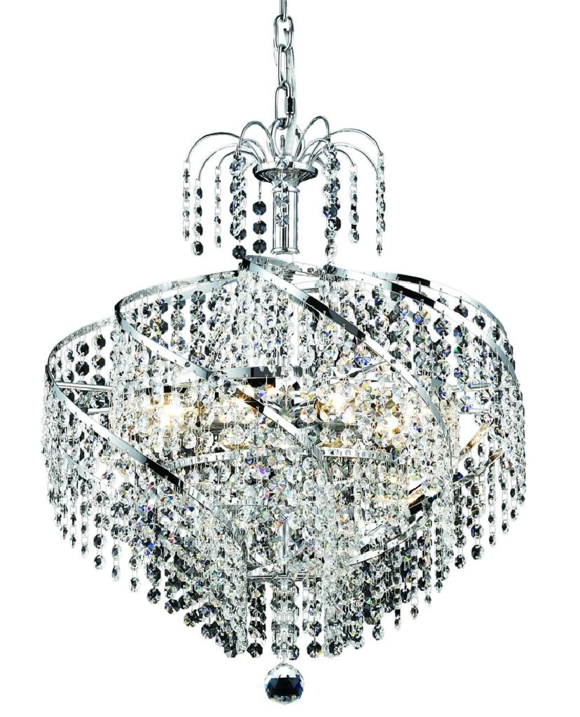Elegant Lighting Spiral Light Chrome Pendant Clear Elegant Cut Crystal
