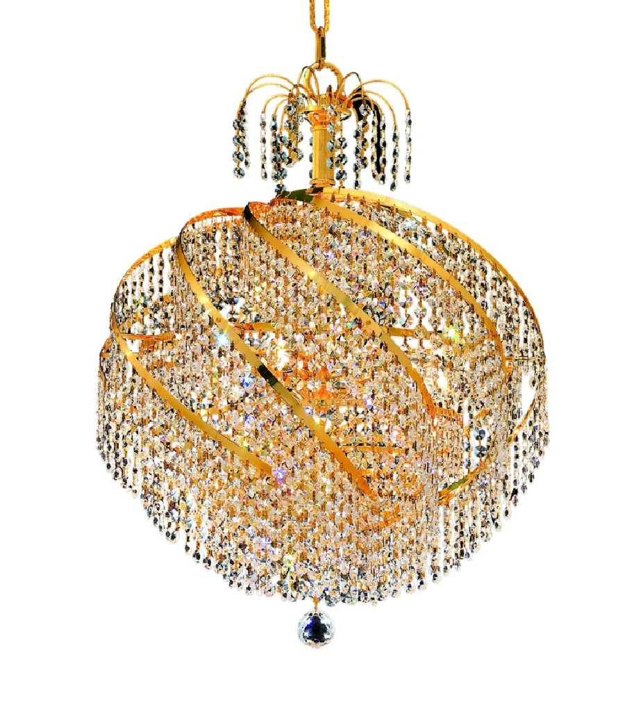 Elegant Lighting Spiral Light Gold Chandelier Clear Elegant Cut Crystal