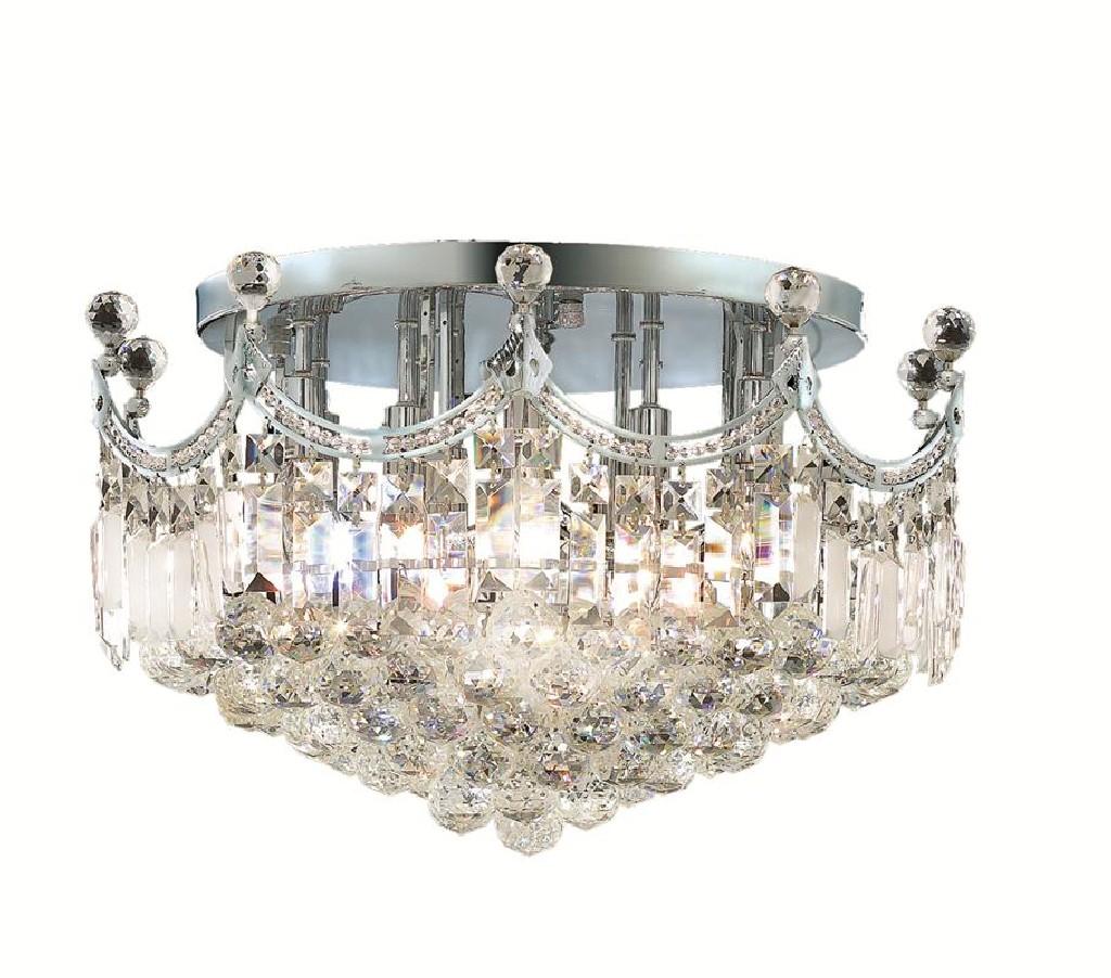Elegant Lighting Corona Light Chrome Flush Mount Clear Royal Cut Crystal