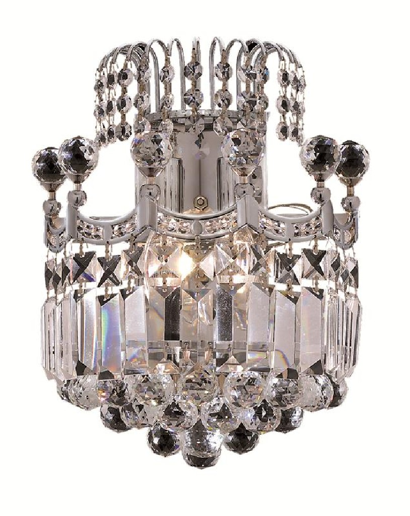 Elegant Lighting Corona Light Chrome Wall Sconce Clear Spectra Swarovski Crystal