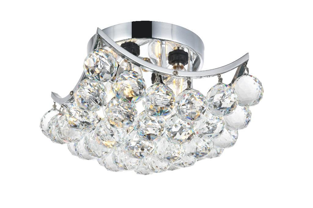Elegant Lighting Corona Light Chrome Flush Mount Clear Swarovski Elements Crystal
