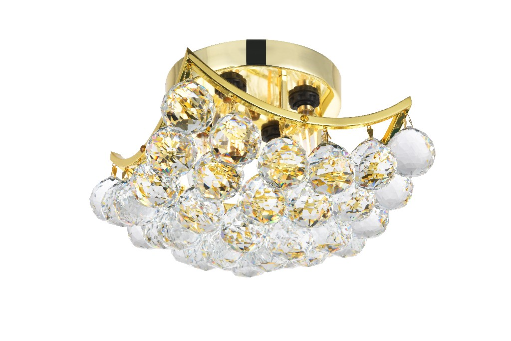 Elegant Lighting Corona Light Gold Flush Mount Clear Swarovski Elements Crystal