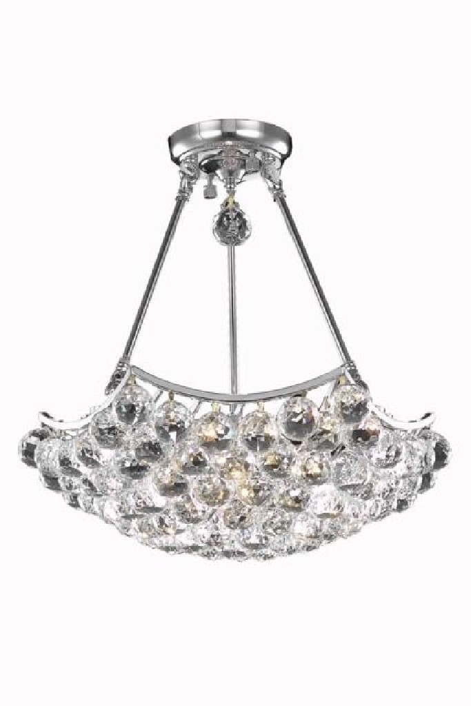 Elegant Lighting Corona Light Chrome Pendant Clear Elegant Cut Crystal