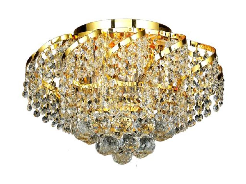 Elegant Lighting Light Gold Flush Mount Clear Swarovski Elements Crystal