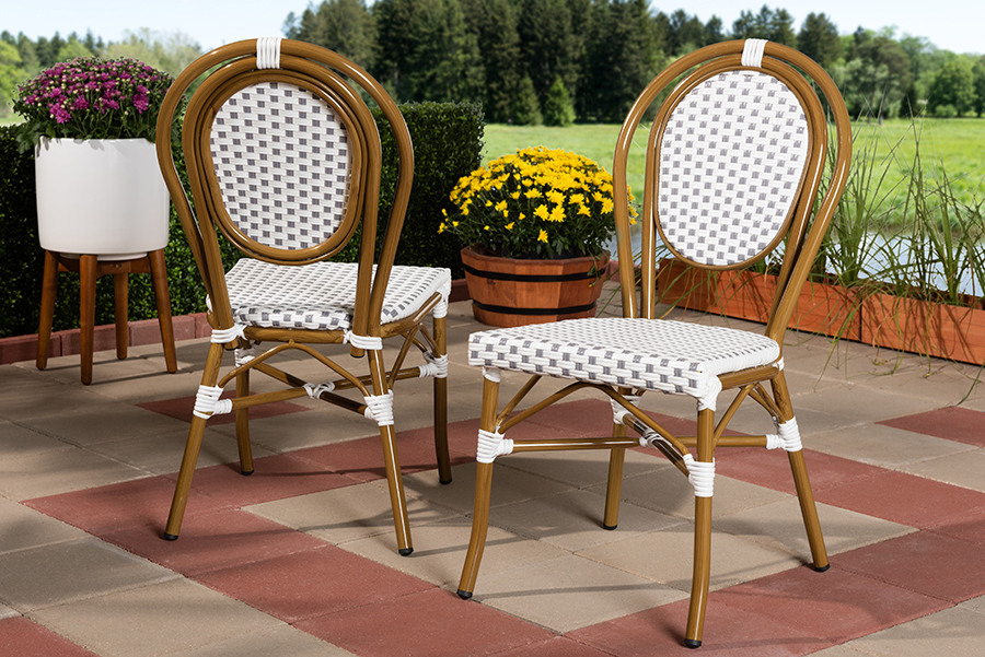 Stackable | Outdoor | Classic | Bamboo | Indoor | French | Chair | White | Dine | Grey | Set