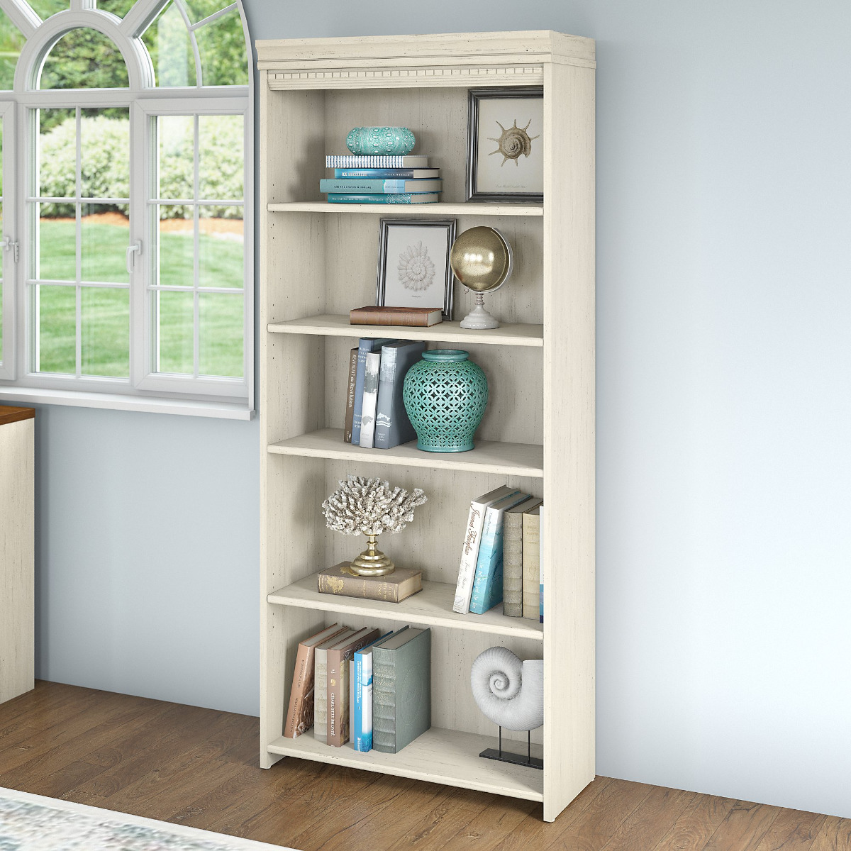Fairview 5 shelf Bookcase in Antique White - Bush Furniture WC53265-03